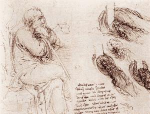 Dessin à la plume (fac-similé), Léonard de Vinci, vers 1513, Florence, Cabinet des dessins et des estampes